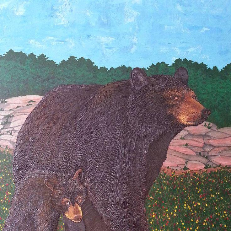"Finished piece - Muskoka Black Bear & Cub / acrylic / 36"" X 36"" #muskoka #muskokaartist #bear #muskokaartsandcrafts…"