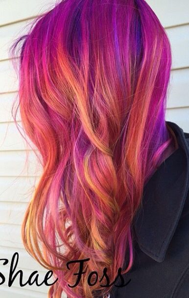 pink orange purple hair