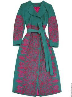 Buy Coat with Heather Dreams embroidery - coat witn embroidery, woolen coat
