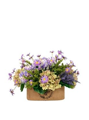 45% OFF Creative Displays Lavender & Green Hydrangea with Daisy in Oval Planter