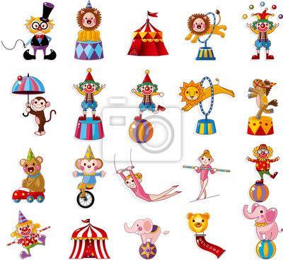 Väggdekor tecknad glad cirkus Visa ikoner samling