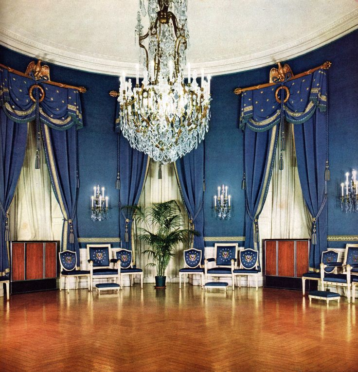 Inside the Blue Room of the White House in 1940 ... 1940s White House Scottie