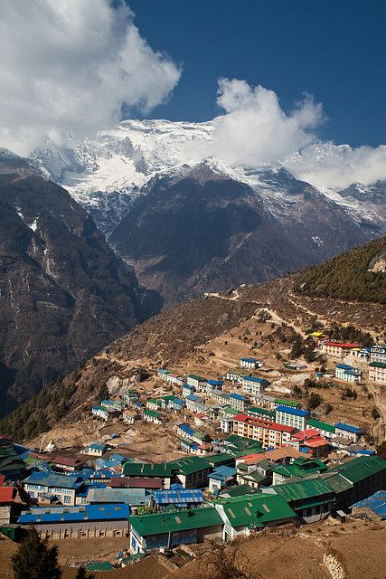 The gateway to the high Himalaya, Namche Bazaar, Nepal (by davebrosha).