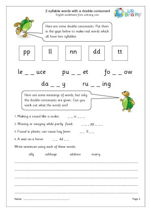 2 Syllable Words With Double Consonant Projects To Try
