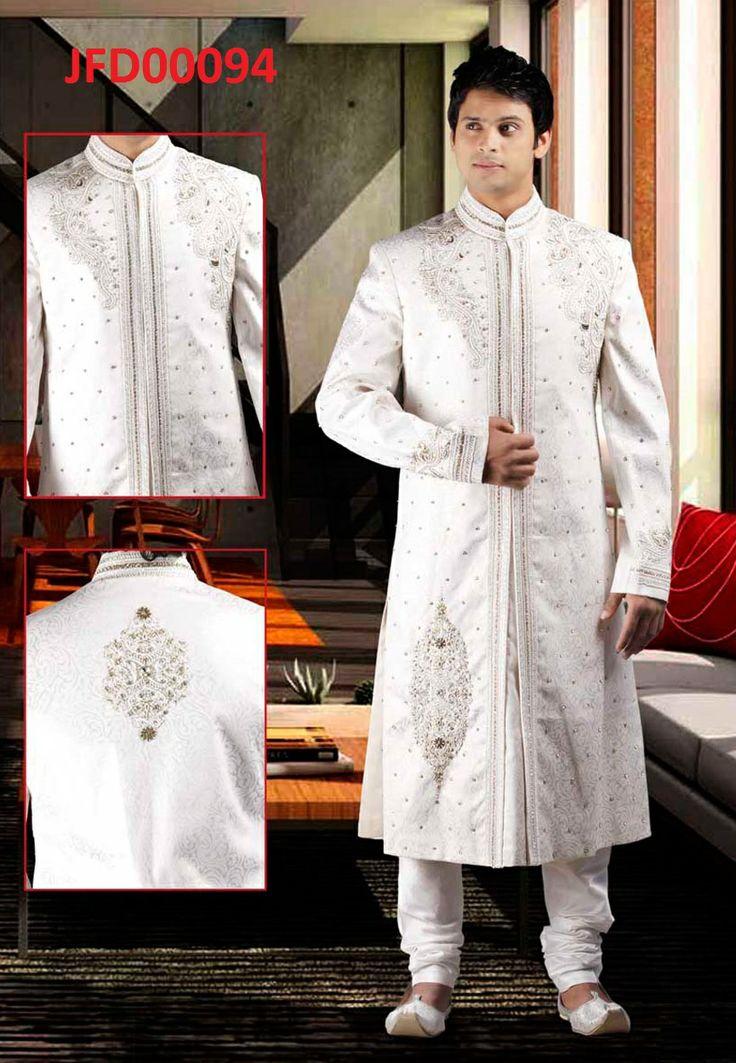 Pure White Dupion Art Silk Readymade Sherwani Churidar  Itemcode: JFD00094  Price: US$ 291.12  #Shop Now @  http://www.jivafashion.com/mens/pure-white-dupion-art-silk-readymade-sherwani-churidar/code=JFD00094