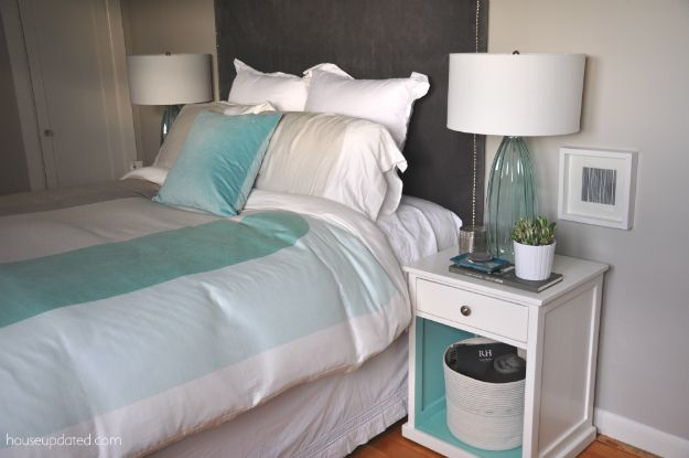 Bedroom. I like the nightstand and blue, white,  grey colors