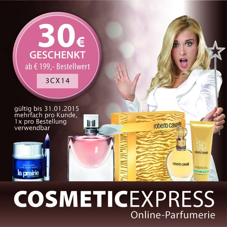30 € GESCHENKT!!! Mit dem 30 Euro #Gutschein von #CosmeticExpress sparen Sie beim Einkauf Ihrer Weihnachtsgeschenke!
