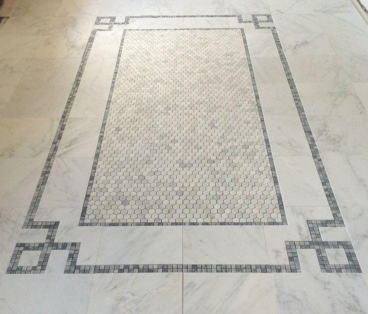 Carrara Bianco Greek Key Border Layout For New Master Bathroom Floor Design And Photo By