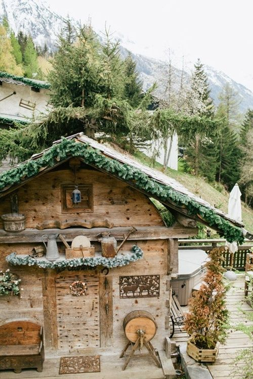A sweet Scandinavian cottage, tucked into a tumble of Alpine beauty.