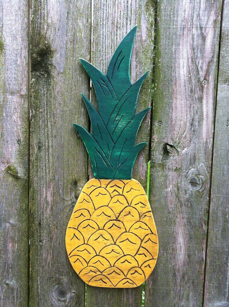 Large Pineapple Wooden Wall Decor. Handmade kitsch decor. $12.00