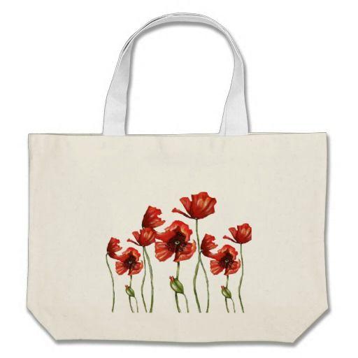 Red Poppies Floral Design Bag