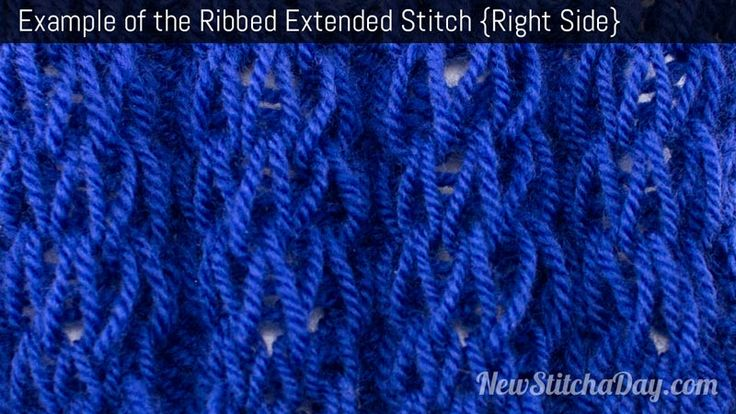 Example of the Ribbed Extended Stitch Right Side Yarn Pinterest