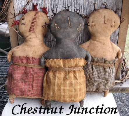 Stump Sisters is a primitive 3 in 1 pattern for a primitive doll, black doll, and Annie doll. Each will measure 9 when complete, features a hand