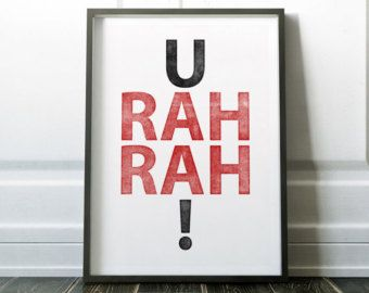 University of Wisconsin inspired art print. U Rah Rah!