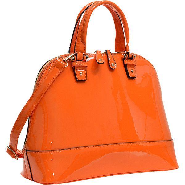 Dasein Patent Zip-Around Flat Bottom Fashion Satchel - Orange -... ($37) ❤ liked on Polyvore featuring bags, handbags, orange, handbag satchel, studded purse, dasein purse, orange patent leather handbag and pocket purse
