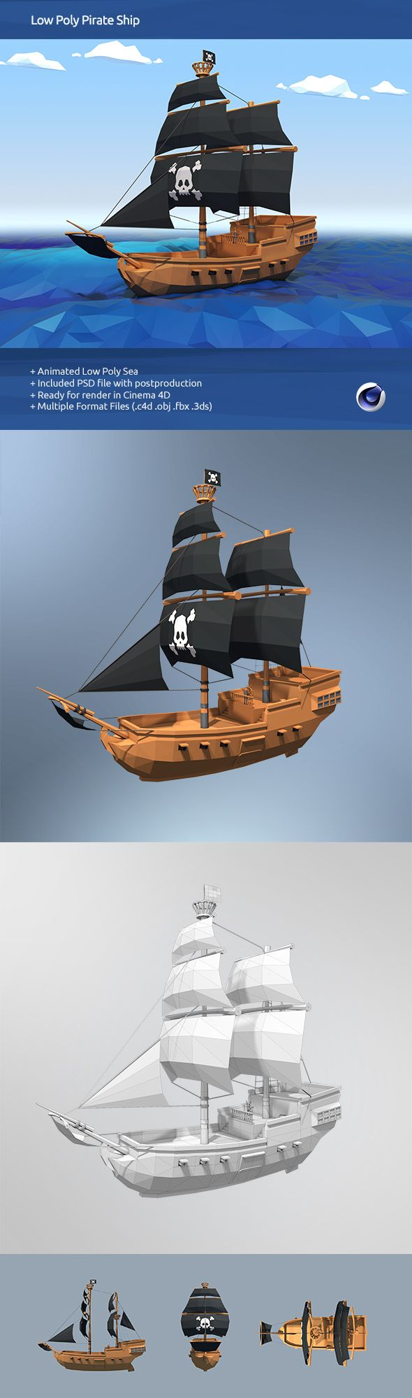 Main Features :Low PolyReady for render in Cinema 4DAnimation ReadyAnimated SeaIncluded PSD...