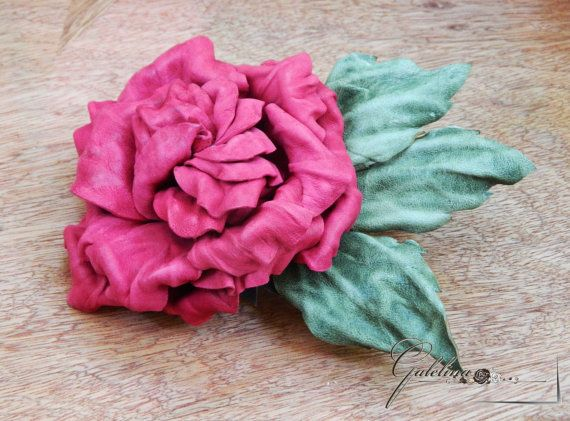 Red crimson leather rose flower pin brooch hair hat by Galelina
