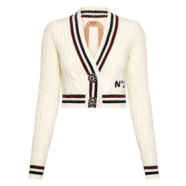 No.21 -  Flower Embellished Button V-neck Cropped Cardigan ($890) ❤ liked on Polyvore featuring tops, cardigans, embellished top, v-neck cardigan, white top, crop top and deep v neck top