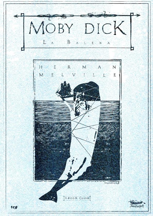 Copertina e-book MOby Dick di Herman Melville, concept, graphic design ed illustrazione di Davide Corsetti per Stregattodesign Milano