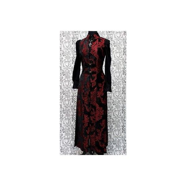 Shrine NECROMANTIC COAT/VEST - BLACK/RED VELVET BROCADE ❤ liked on Polyvore featuring outerwear, vests, velvet vest, brocade vest, gothic vest, red vest and victorian waistcoat
