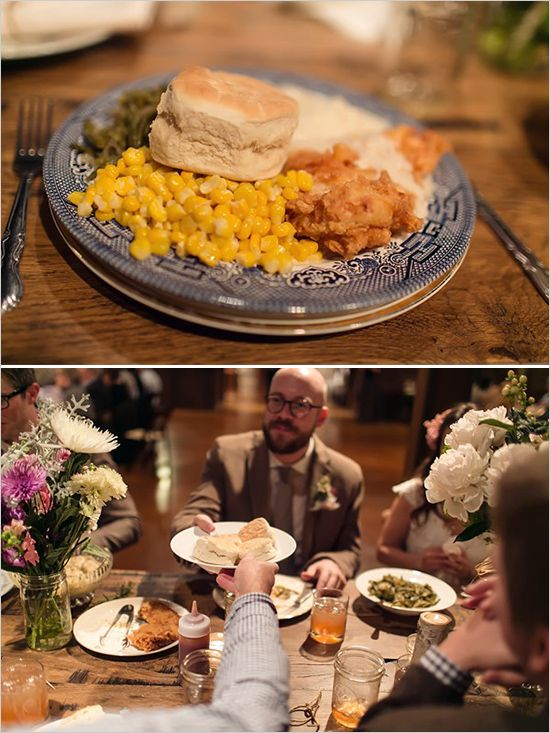 Wedding dinner served family-style - Love this idea! Gets everyone talking and isn't as irritating as a buffet line