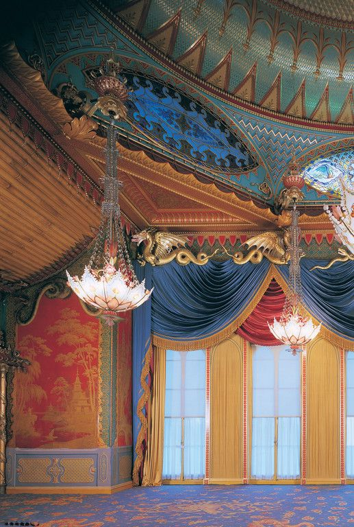 Built for George, Prince of Wales, the Royal Pavilion at Brighton. A view of the Music Room.