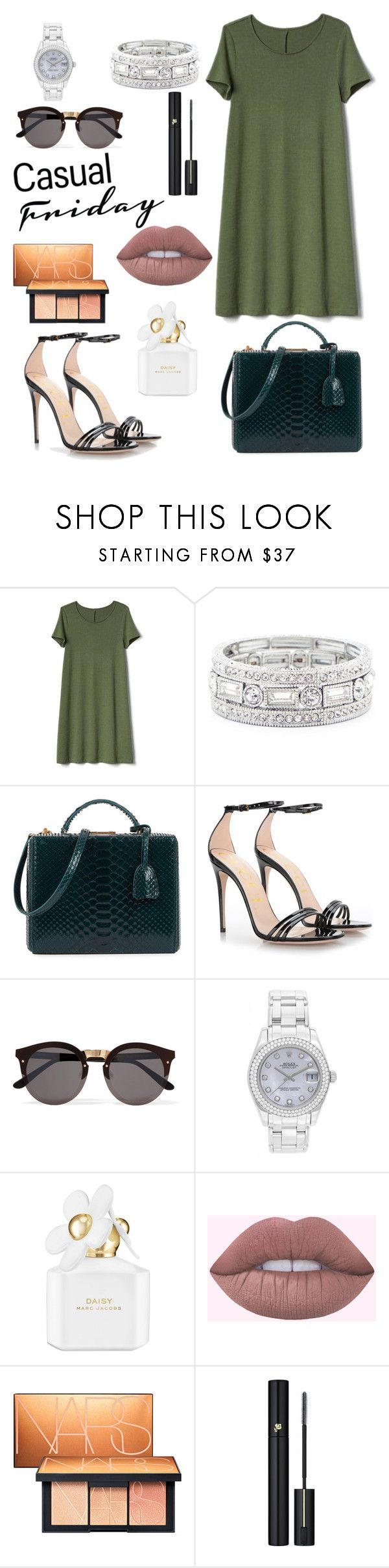 """Untitled #111"" by alexanutella on Polyvore featuring Gap, Sole Society, Mark Cross, Gucci, Illesteva, Rolex, Marc Jacobs, NARS Cosmetics and Lancôme"