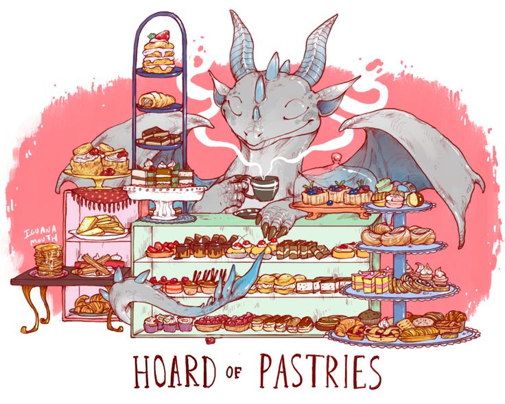 this dragon actually orders all their pastries from a nearby cafe after attempting to make a strawbery shortcake and inadvertently putting three people in the hospital. youve got nothing to worry about though ! they dont bake anymore ! size: 11 by 8.5 inches