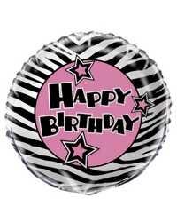 18'' Ballon aluminium imprimé sur 2 côtés  - Zebra Passion