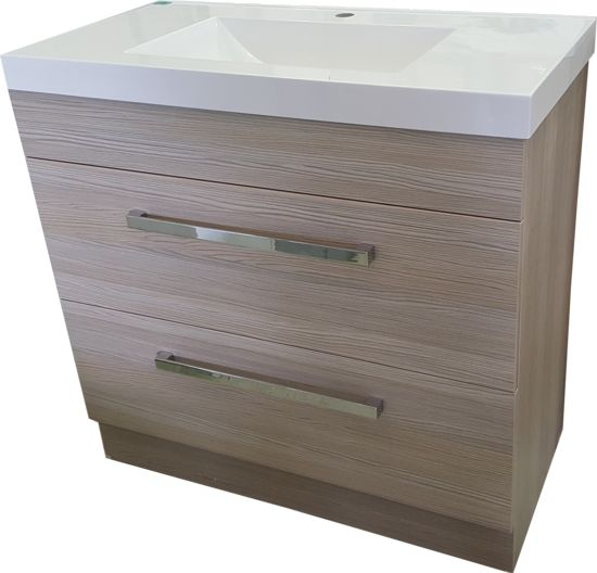 Alpha Montrose 900mm Basalt Floor Standing Vanity   This is a very stylish but very practical vanity and will suit any bathroom with its sleek lines and unique balsalt colour cabinet. 900mm Soft closing fully extendable drawers Polymarble top Chrome handles Water resistant finish