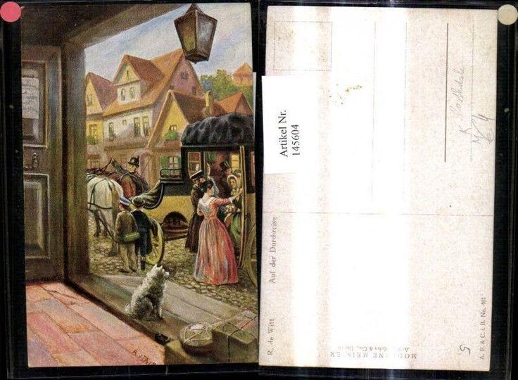 145604,Künstler Ak R. de Witt Auf der Durchreise Postkutsche Post Hund