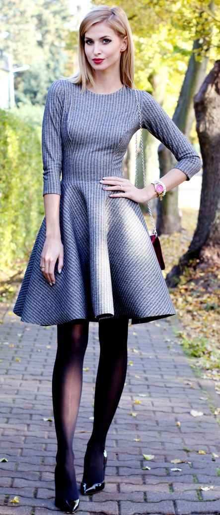 Gray Fit And Flare Little Dress Fall Street Style Inspo by Beauty - Fashion - Shopping