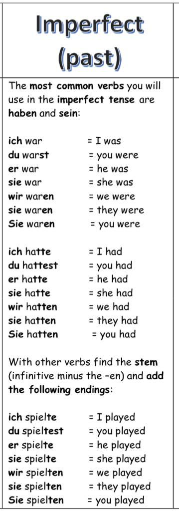 German grammar - The Imperfect tense