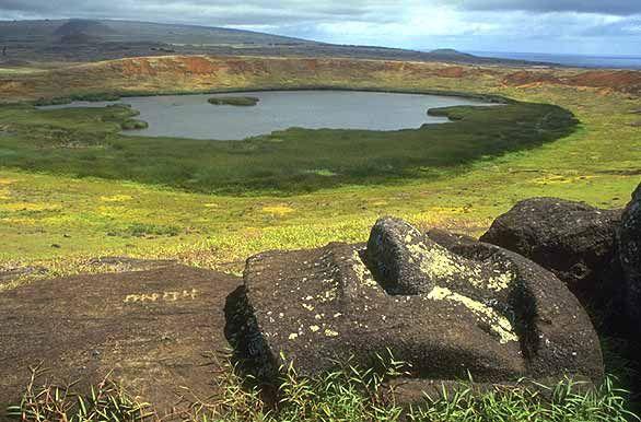 Moai at Rano Raraku volcanic crater, Easter Island