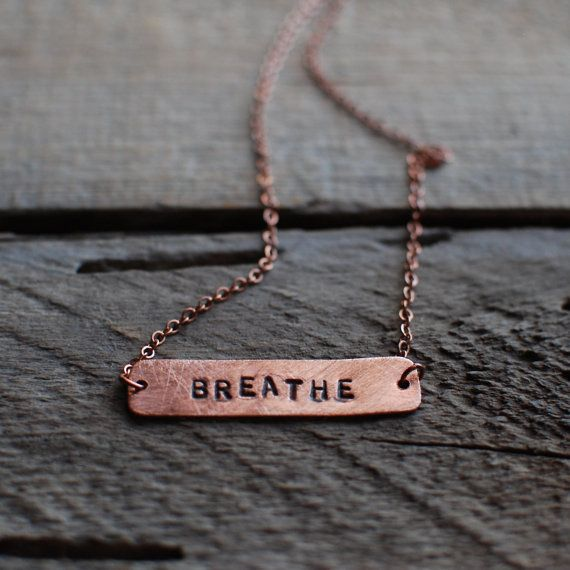 Breathe Necklace Copper Bar Hand Stamped Jewelry by reVetro