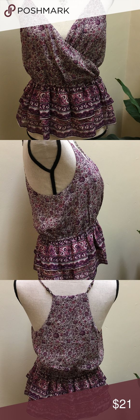 """Joie Silk Cami, Shara Purple, Size Small A pretty mix of floral prints converge on a semi-sheer chiffon tank, pleated on each side of the split neckline and finished with tasseled tie.  Will par great with your favorite denim or a skirt. 100% silk. Dry clean. Bust 17"""" x 23"""" in Length. In Excellent condition. Joie Tops Camisoles"""