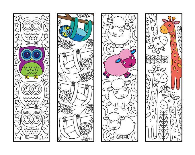 Cute Animal Bookmarks Pdf Zentangle Coloring Page Etsy Coloring Bookmarks Coloring Pages Bookmarks Kids