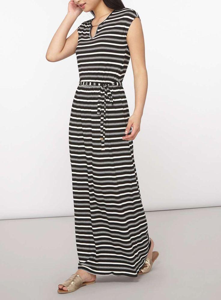 Womens Petite Monochrome Stripe Maxi Dress- Black