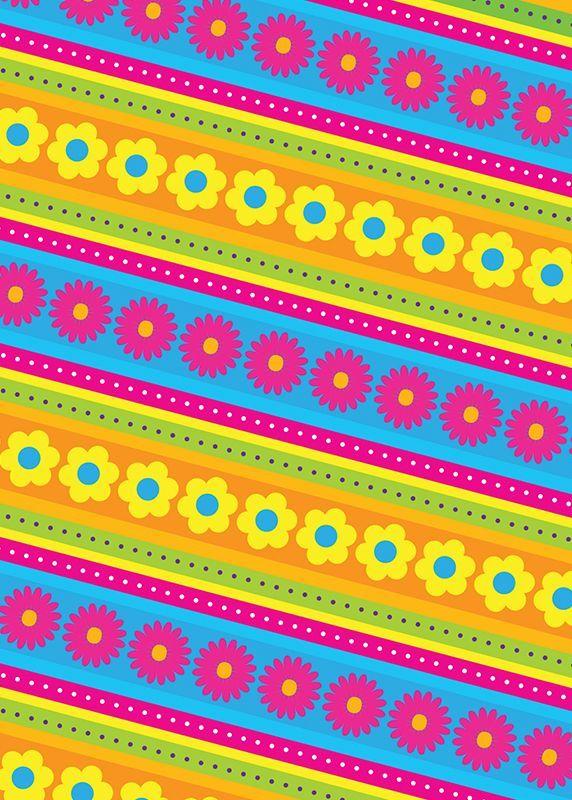 Flores y rayas diagonal