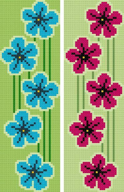 bookmark 9 flowers cross stitch image