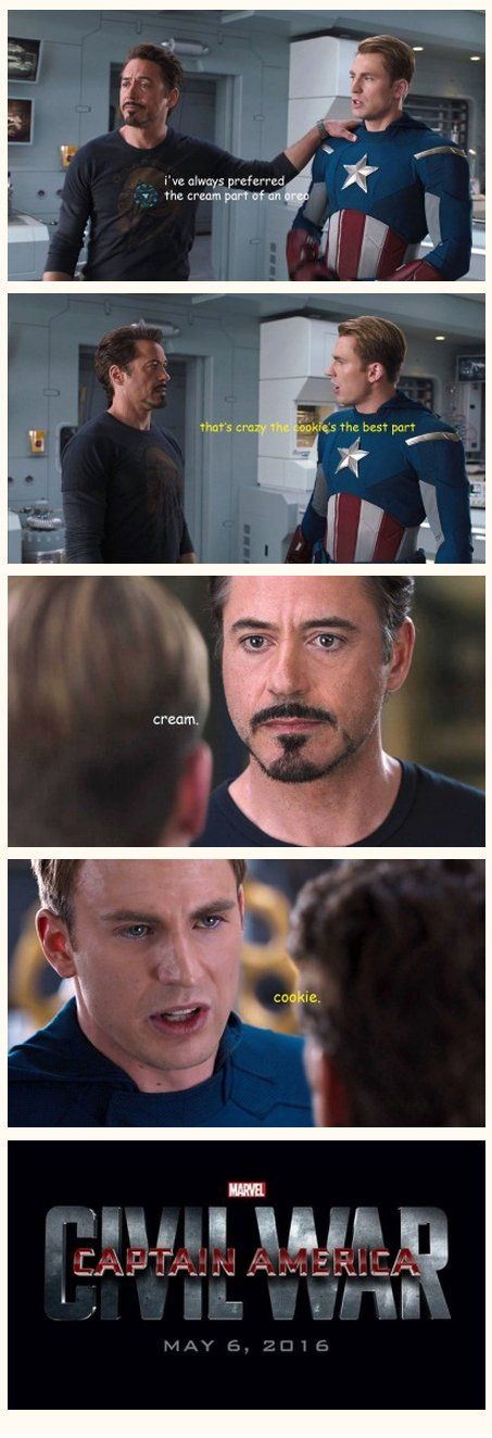 "Captain America: Civil War meme: ""Cream."" ""Cookie."" Posted on dorkly.com (image credit hannibalistic-tendancy.tumblr.com)."