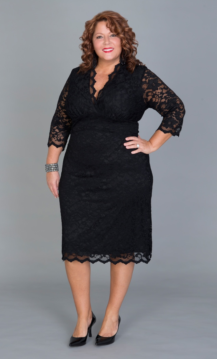 """You can never go wrong with a class black dress.  Real Curve Cutie Jennifer N. (0x, 5'3"""") is looking sophisticatedly elegant in the Plus Size Scalloped Boudoir Lace Dress by Kiyonna.  Black pumps will never fail you but don't be afraid to add a pop of color like red or a neutral silvery grey.  #Kiyonna  #PlusSize  #KionnaPlusYou"""