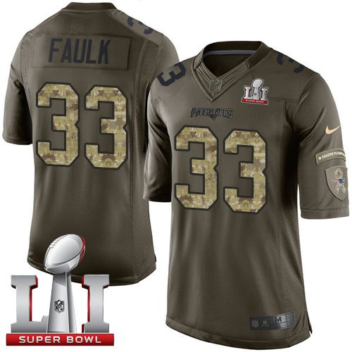 #NikePatriots #33 #Kevin #Faulk Green Super Bowl LI 51 Men's Stitched NFL Limited Salute to Service Jersey #Patriots  #LetsHear #SuperBowl #OneMore #DriveFor5 #GroundhogDay #Buytopjerseys