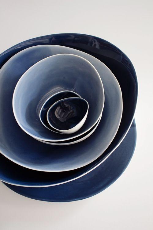 Functional Landscapes in INDIGO White + Blue Tableware Yasha Butler Ceramics - www.yashabutler.com