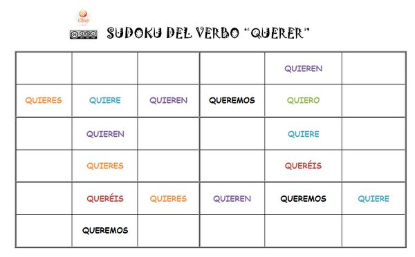 Sudoku del verbo querer - could change this to pret or imperfect. Could be fun.