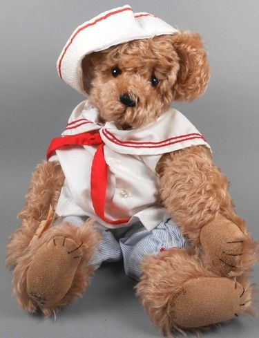 """Adopt a Bear todaySailor by: Henrietta Patty 19"""" fully jointed mohair bear, poly stuffed. Sailor outfit and hat. Original paper tag."""