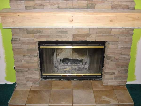 12 best ugly brick fireplace images on pinterest before - Tile over brick fireplace ...