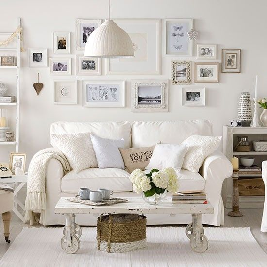 Elegant Shabby Chic Sofas Soft White Living Room   Home Interior Design Ideas Good Looking