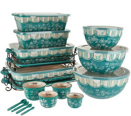 Temp Tations Floral Lace 20 Piece Bakeware Set K42701