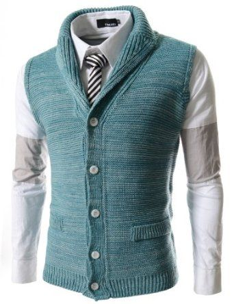 Amazon.com: (FF07) TheLees Slim Fit Shawl 5 Button Knitted Vest MINT Large(US Medium): Clothing